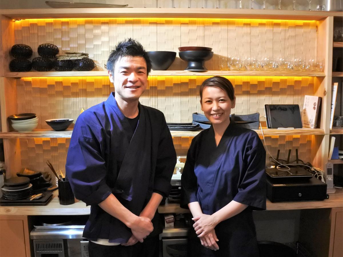創作和食店「北野坂 つる肴」の鶴巻太さん夫妻