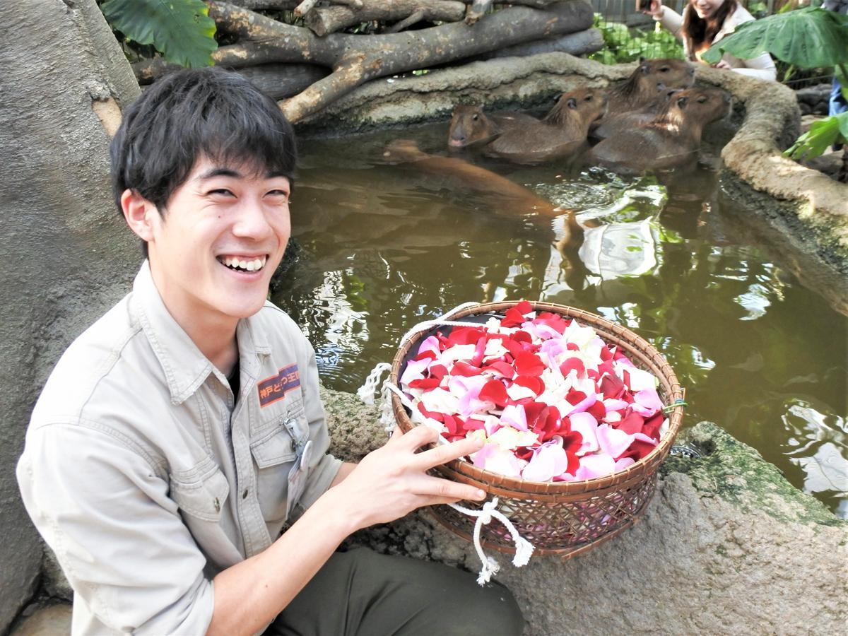 「カピバラスパ」前で花びらの入ったかごを持つ飼育スタッフの浦川翔さん