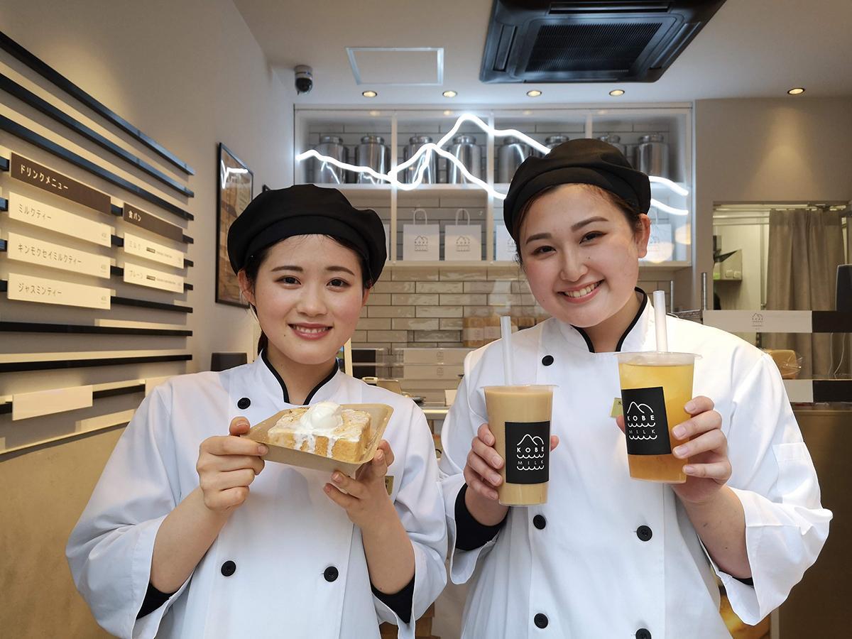 無添加食パン専門店「神戸milk食パン」では、トーストなどテークアウトメニューも販売