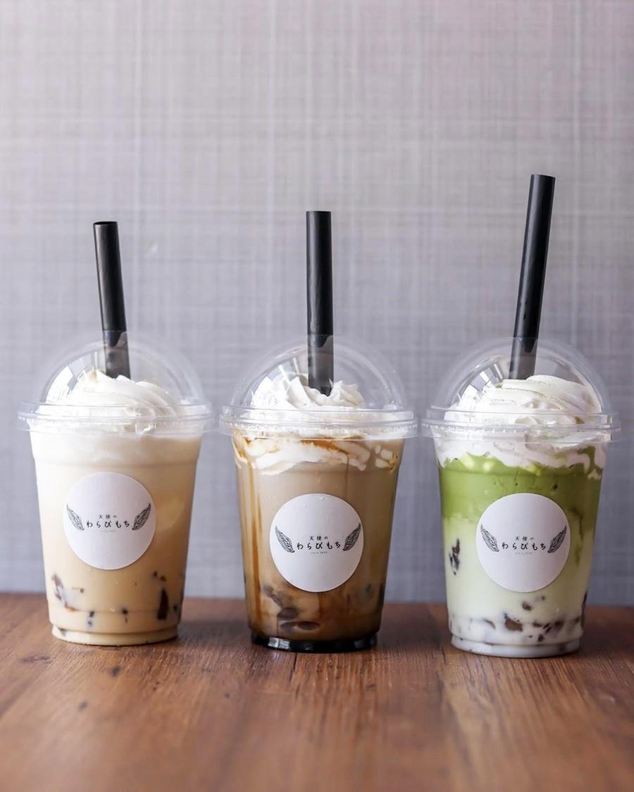 飲むわらびもち」左からミルクティー、黒蜜、抹茶 - 神戸経済新聞