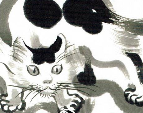 墨と水で猫の体を描くイシデ電さんの作品