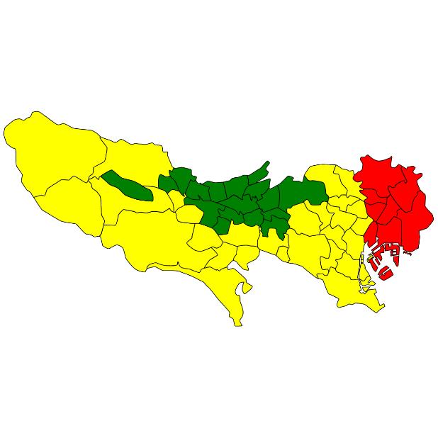 東京都区市町村の地盤調査(緑=安全 黄=普通 赤=注意)