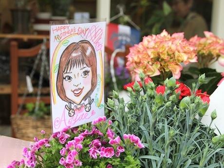 花と一緒に似顔絵を提供