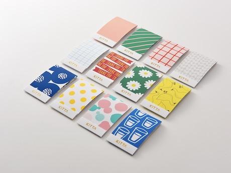 91ミリ×55ミリのカードサイズのパッケージに、4つの柄のマスキングテープ(15ミリ×50ミリ)が各10枚入る