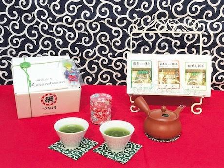 神奈川なでしこブランド認定商品の一つ川崎の老舗日本茶専門店つな川の「心ばかり(日本茶・急須セット)」