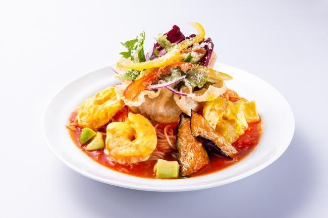 ぷりぷり海老マヨのクリーミーベジトマ冷麺