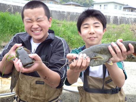 ナマズを両手に抱える「魚部」部員