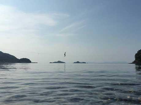 三由さんが拠点に活動する山口県粭島(すくもじま)でのハイライン(提供写真)