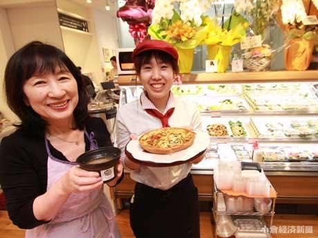 「丸ふじ」が経営する「ビエント・アンド・テーブル」には、キッシュや薬膳スープなどの日替わりメニューが並ぶ