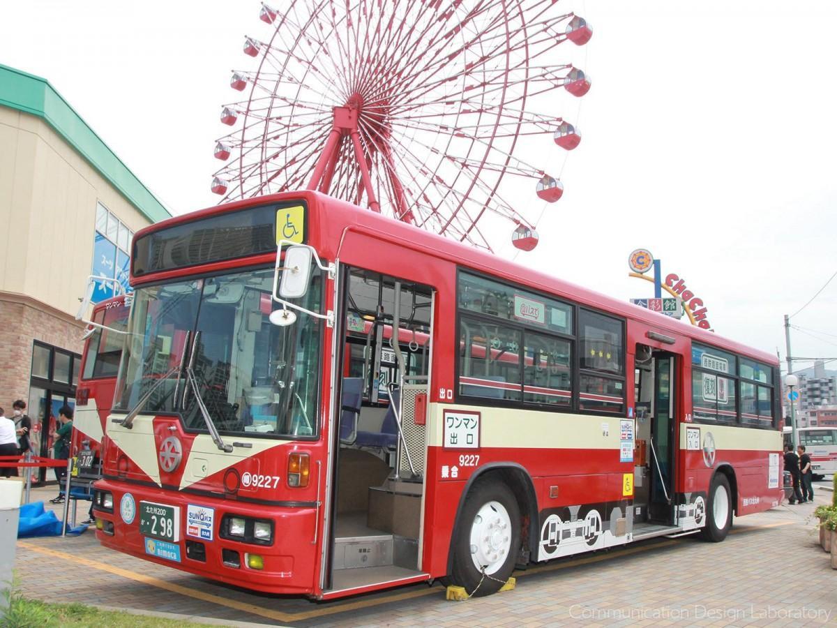 25日・26日お披露目された「西鉄北九州本線」路面電車デザインのラッピングバス