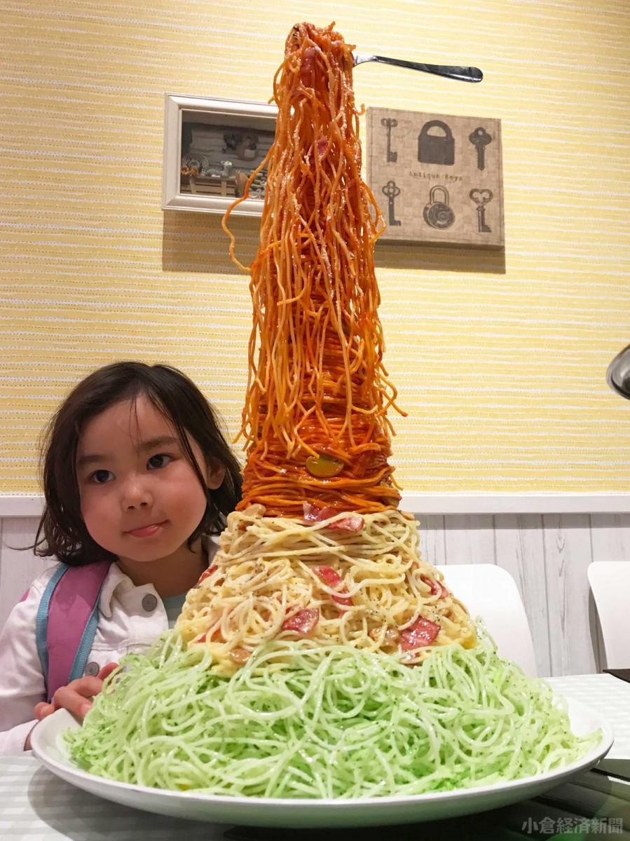 食品サンプルメーカー「サンプルRIKI」(福岡市)が持ち寄ったスパゲティ