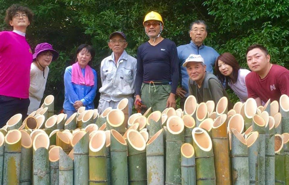 合馬地区で竹の切り出しを進めている