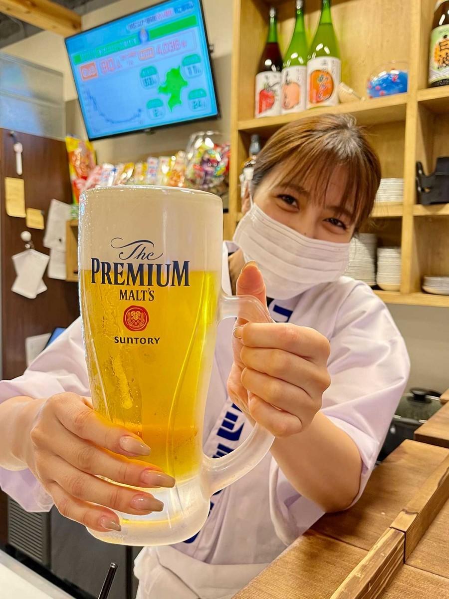 生ビールは「サントリー・プレミアムモルツ」