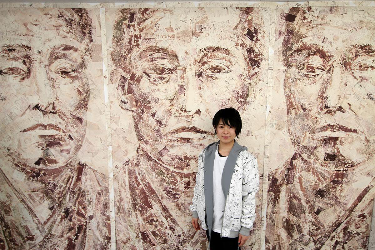 レシートに熱を加えて変色させるレシートアート。作品「RE:yen」は18000枚のレシートが使われている