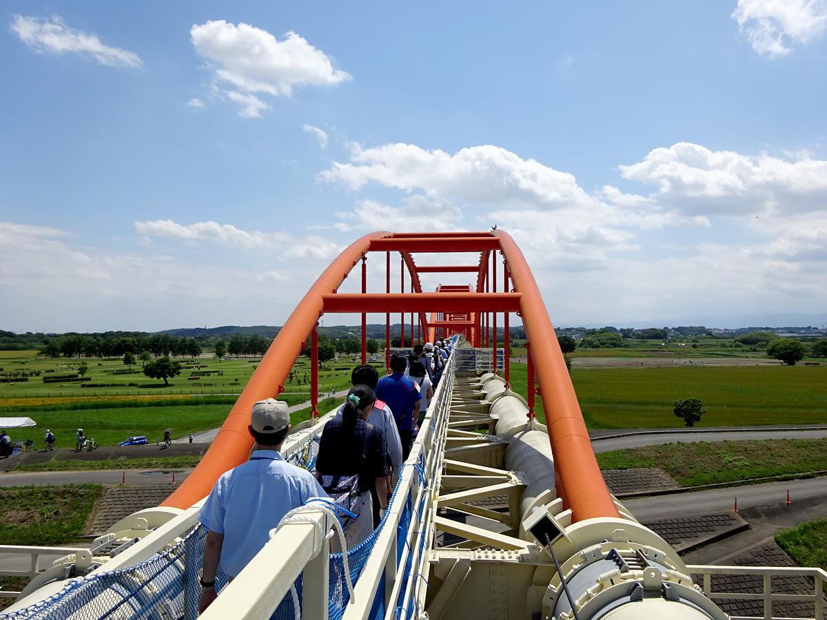 全長1101メートルの水管橋を歩く見学会の様子(画像提供:埼玉県)