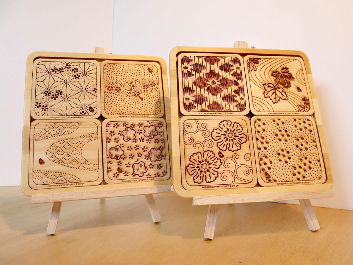 鍋敷き(トレー&熊谷染型紙デザインコースター)セットはインテリアとして飾ることもできる