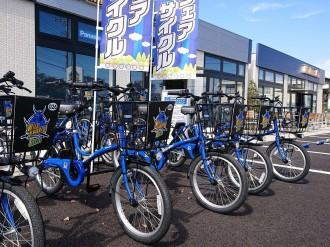 熊谷でシェアサイクルサービス始まる 電動アシスト「ワイルドナイツ」限定色で
