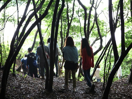 島内を散策する参加者(過去の様子)
