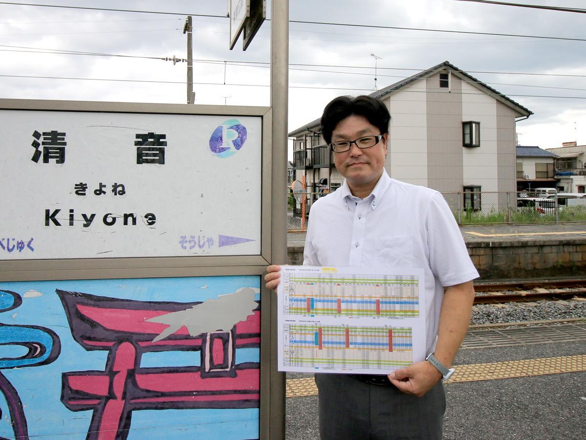 清音駅で井原鉄道の芝崎直人さん