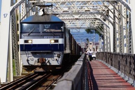 貨物列車が通過中の「赤川鉄橋」