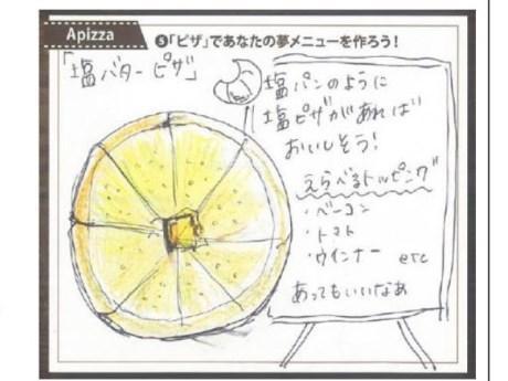 応募者が描いた「塩バターピッツァ」のイラスト