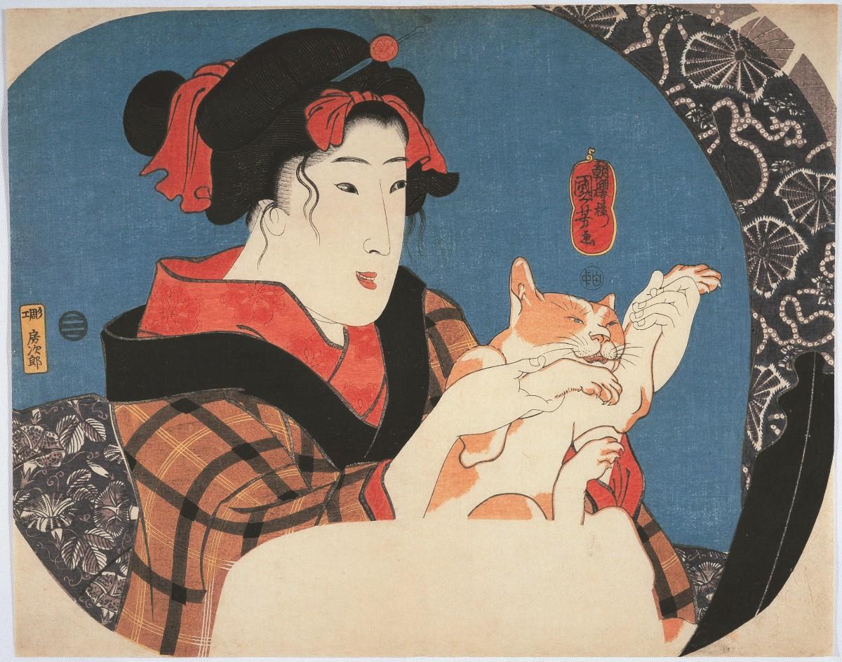 「鏡面シリーズ 猫と遊ぶ娘」歌川国芳 個人蔵