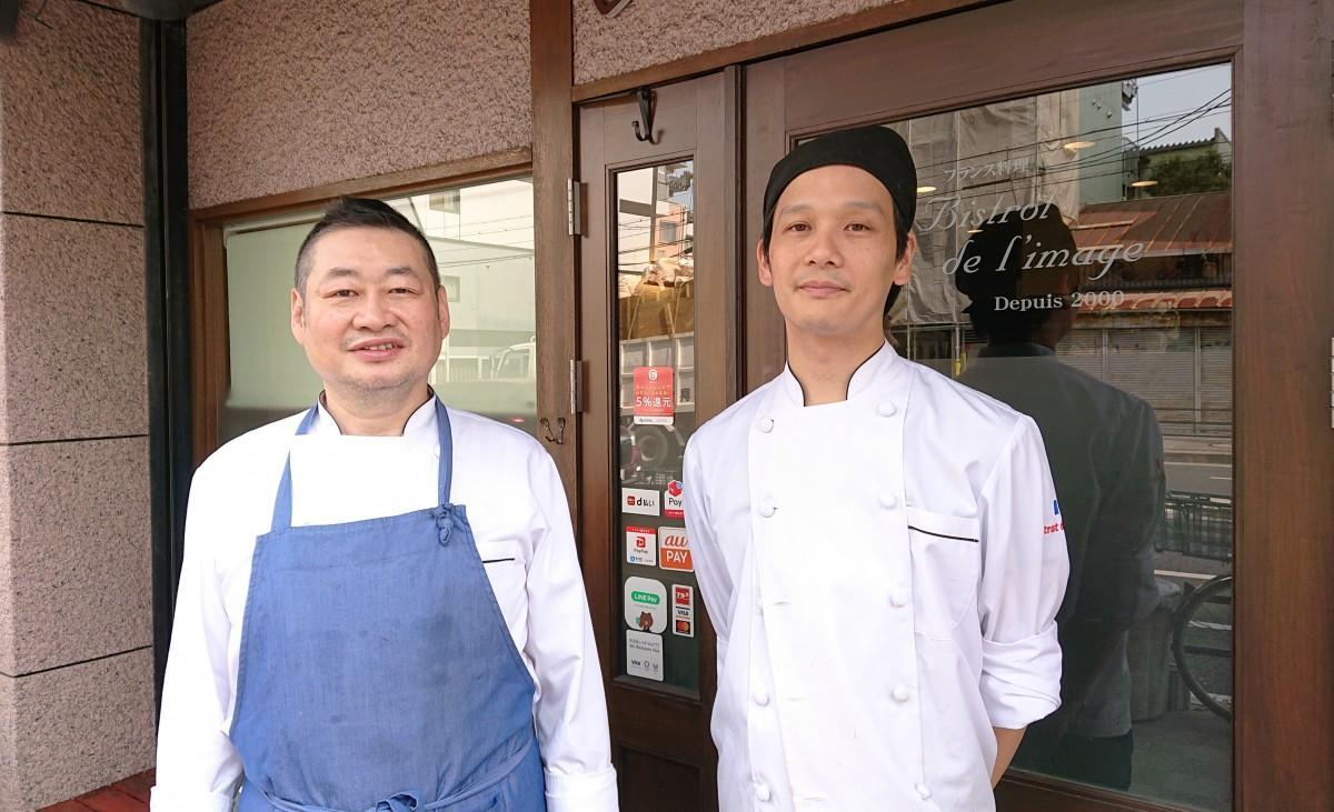 (左から)店主の上山謙一郎さん、シェフの上月康孝さん