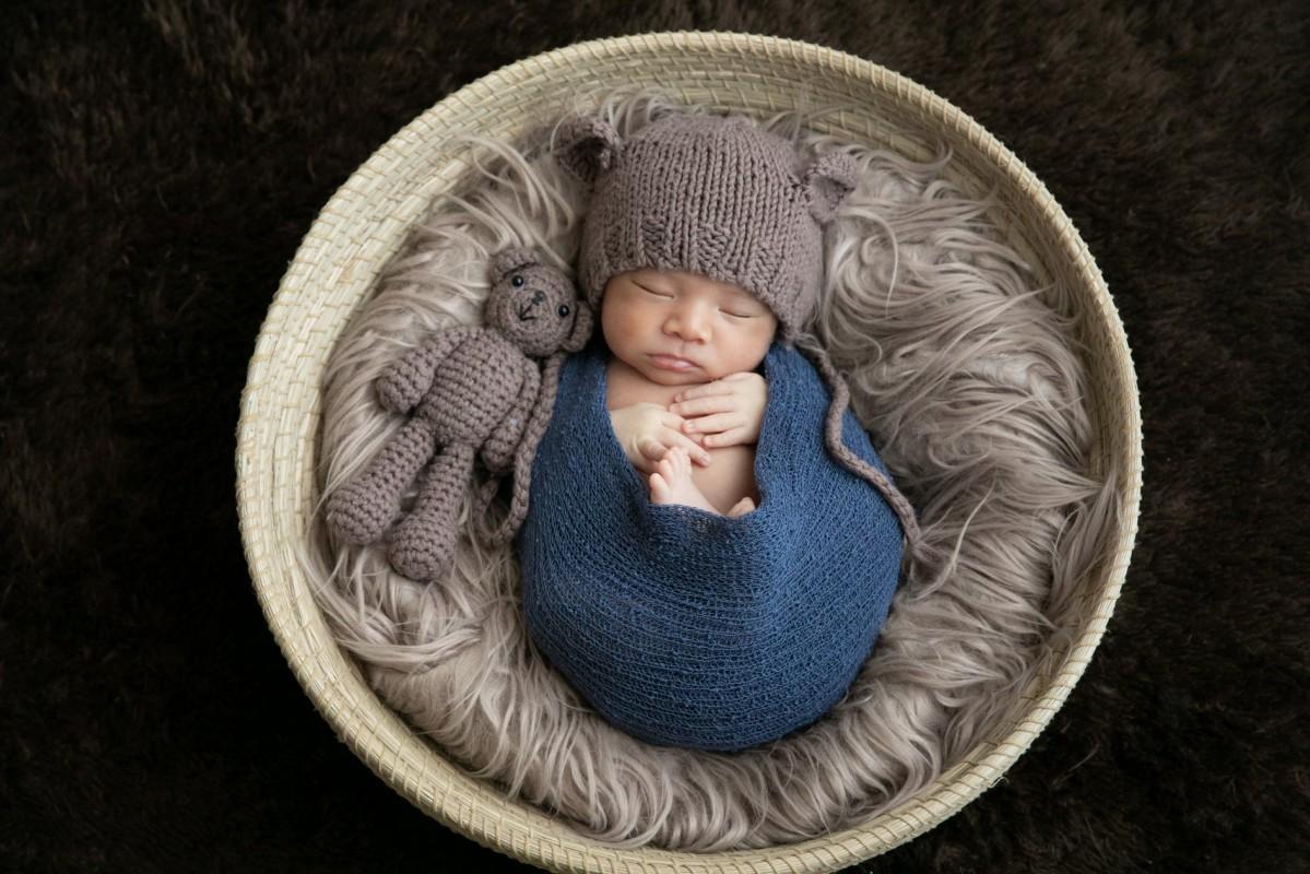 籠に収まる生後間もない赤ちゃん