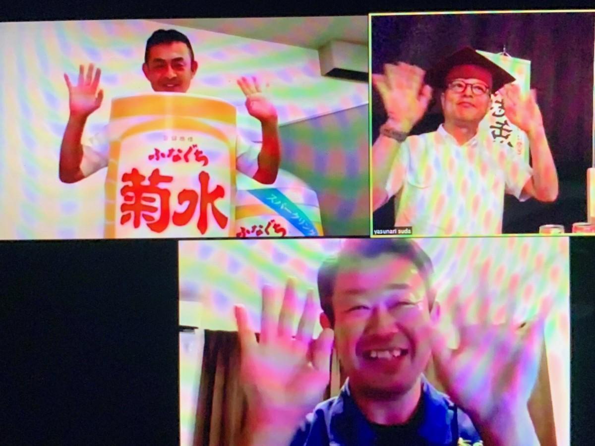 第1回「缶マガ マッチングイベント」のエンディング。左上が菊水酒造の先川彰一さん、右上が缶詰博士・黒川勇人さん、下が木の屋石巻水産の鈴木誠さん