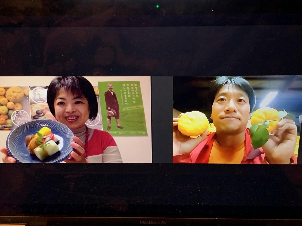 薬膳・和食研究家の百田美知さん(左)と「千光士(せんこうじ)農園」の千光士尚史さん