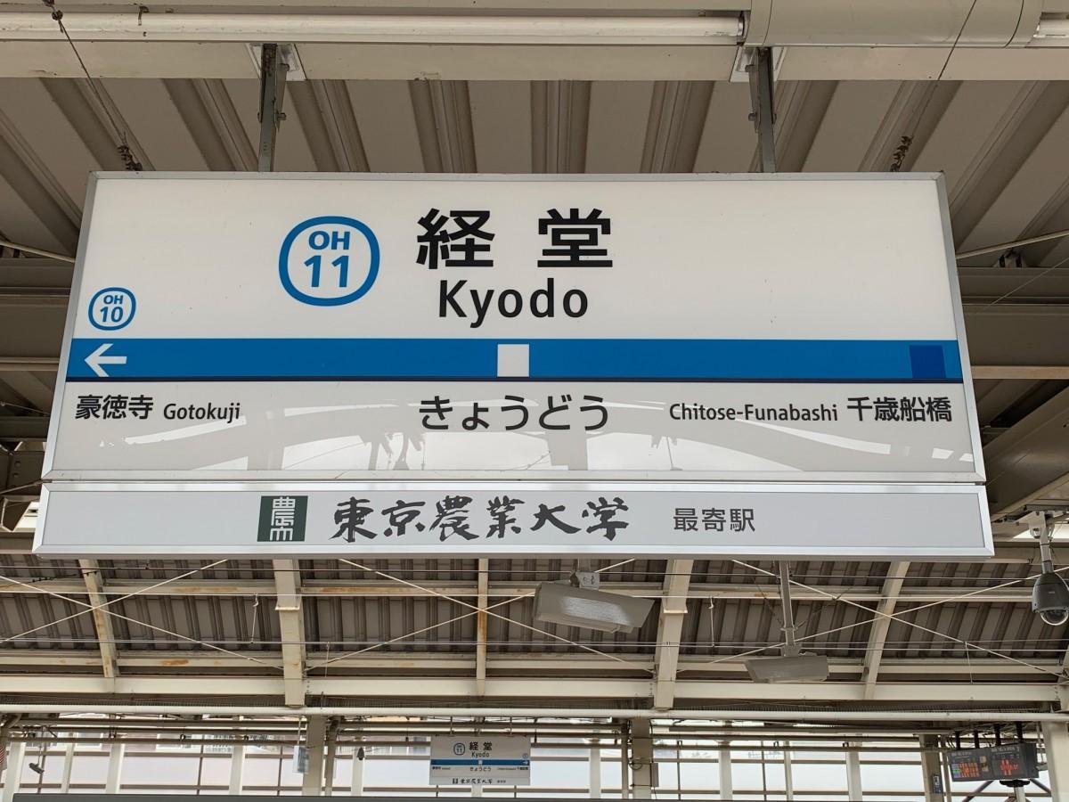経堂駅ホームの「東京農業大学 最寄駅」と表記する副駅名看板