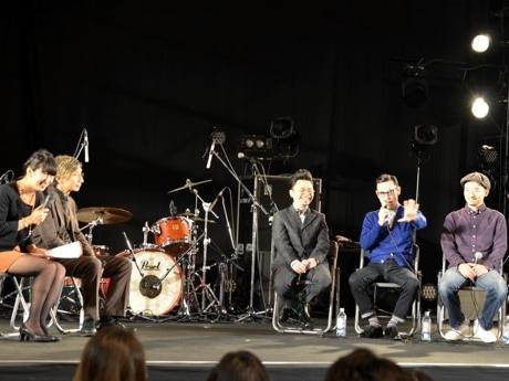 在日ファンクトークショー。左から有働文子さん、堂前雅史教授、浜野謙太さん、久保田森さん、仰木亮彦さん。