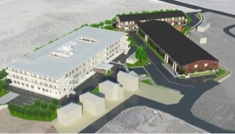 施設の全体イメージ。向かって右手前=クリニックモール、右奥=医療関連複合サービス棟、左=特別養護老人ホーム(2018年年春竣工予定)