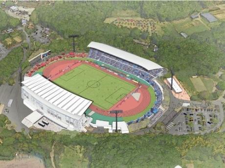 町田市立陸上競技場の整備イメージ。上側が増設したバックスタンド。