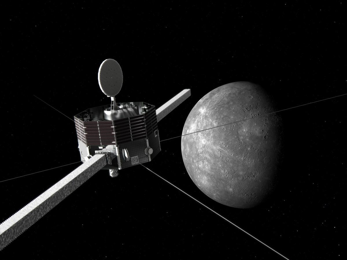 水星磁気圏探査機MMOと水星のイメージ