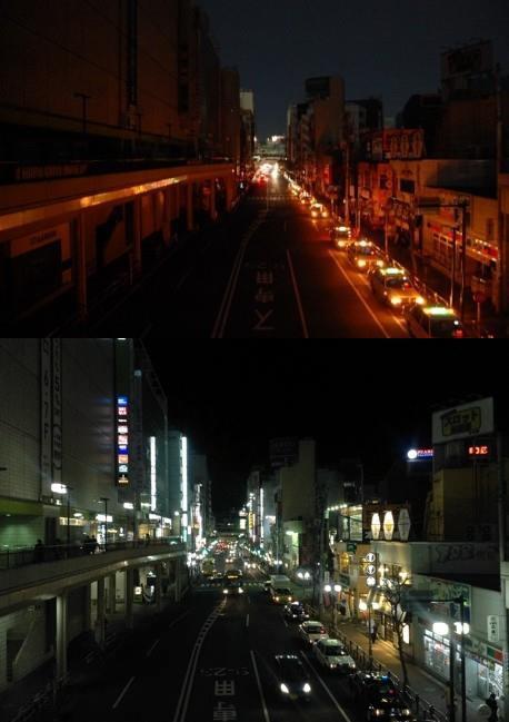 2011年に実施された計画停電時の町田駅周辺の様子(上)、普段の様子(下)