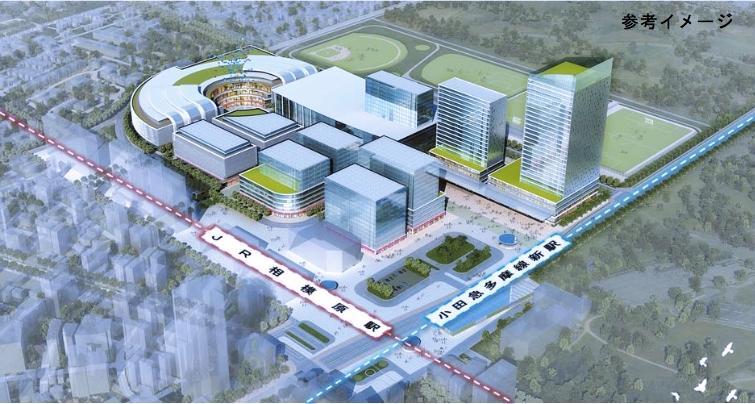 相模原駅周辺地区の都市将来イメージ(JR横浜線の連続立体交差化が地下の場合)。奥の右から3番目の建物がコンベンション施設・宿泊施設エリア。出典 相模原市広域交流拠点整備計画(2016年度)