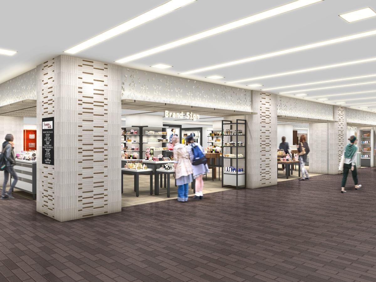 小田急百貨店町田店2階のイメージ。並行する駅構内通路からの誘客を図るため、開放的な環境空間にするという。
