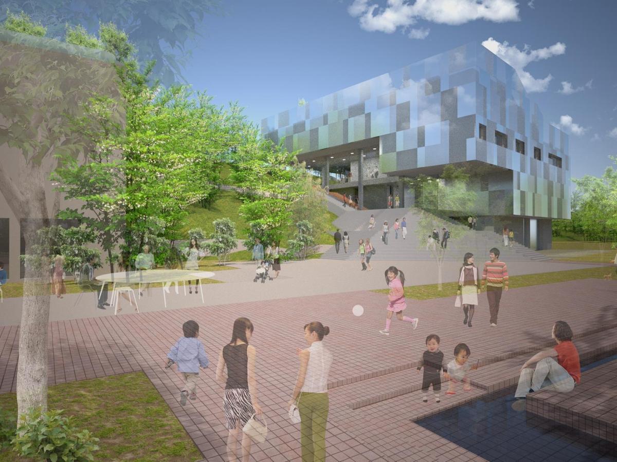 シーラカンスアンドアソシエイツによる基本設計案のイメージ。 (仮称)町田市立国際工芸美術館整備事業 基本設計 第三回説明会資料より抜粋。