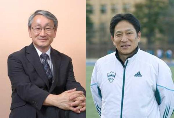 川口淳一郎教授(左)、原晋監督