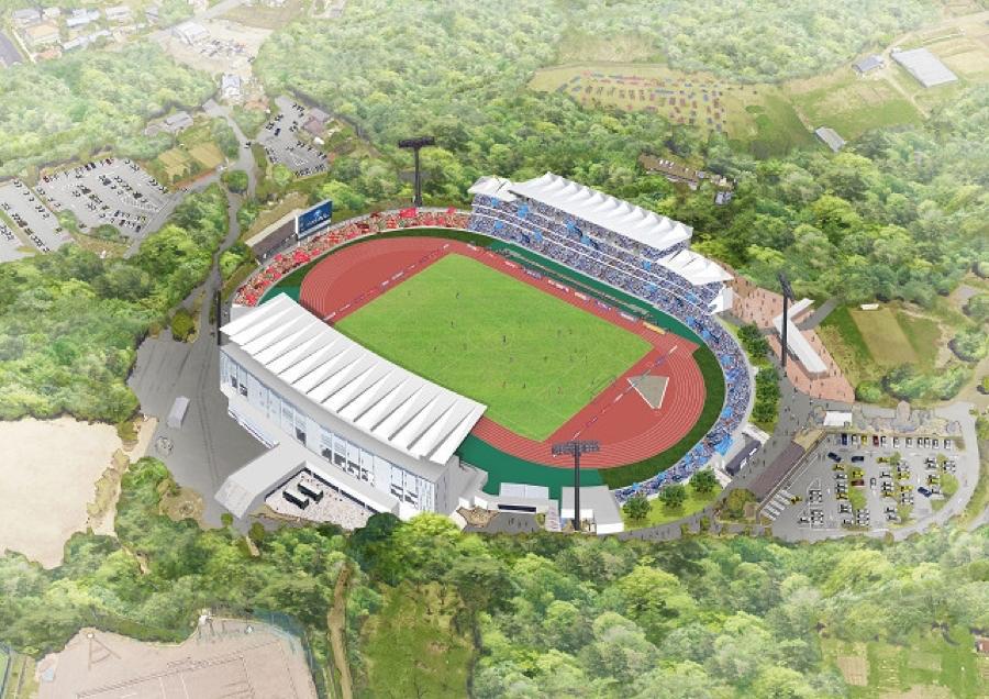 観客席増設後の町田市立陸上競技場のイメージ