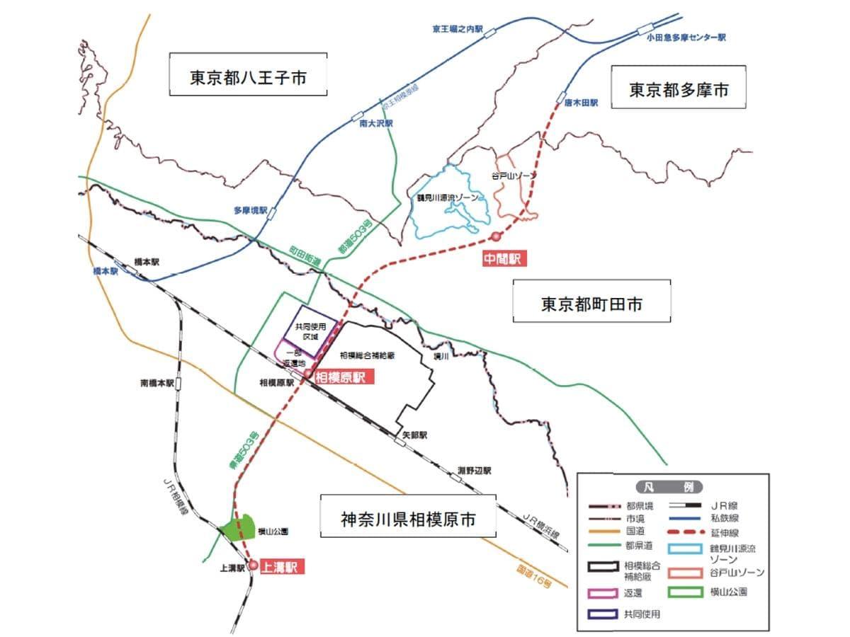 小田急多摩線延伸計画図 出典:小田急多摩線延伸に関する関係者会議 報告書