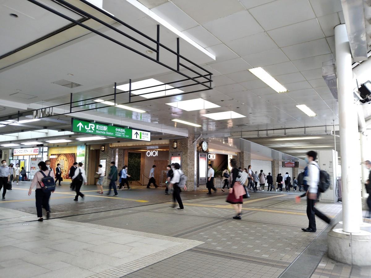 JR町田駅の利用客は平常時よりも少ない(5月26日7時20分頃撮影)