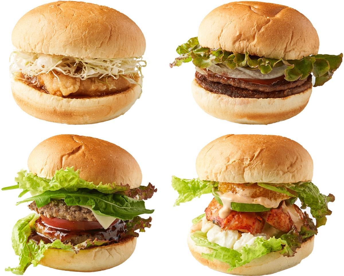 写真左上から時計周りに甘辛チキンバーガー、ビッグドムバーガー、スパイシーレッドロブスターバーガー、イタリアンバーガー