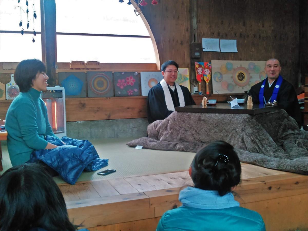 牧師の東昌吾さんと僧侶の増田俊康さんのトークセッションの様子