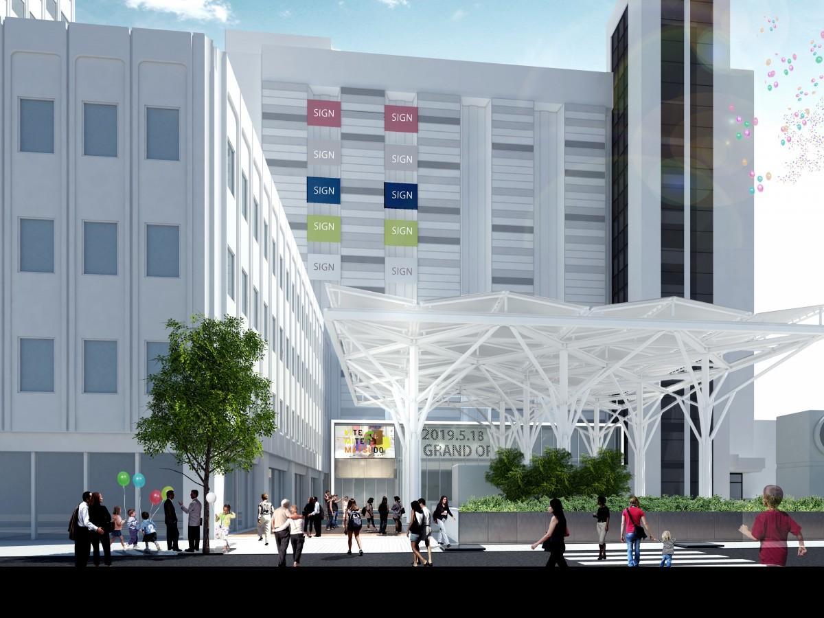 施設前広場に設けられた大屋根を備えた全天候型イベント広場