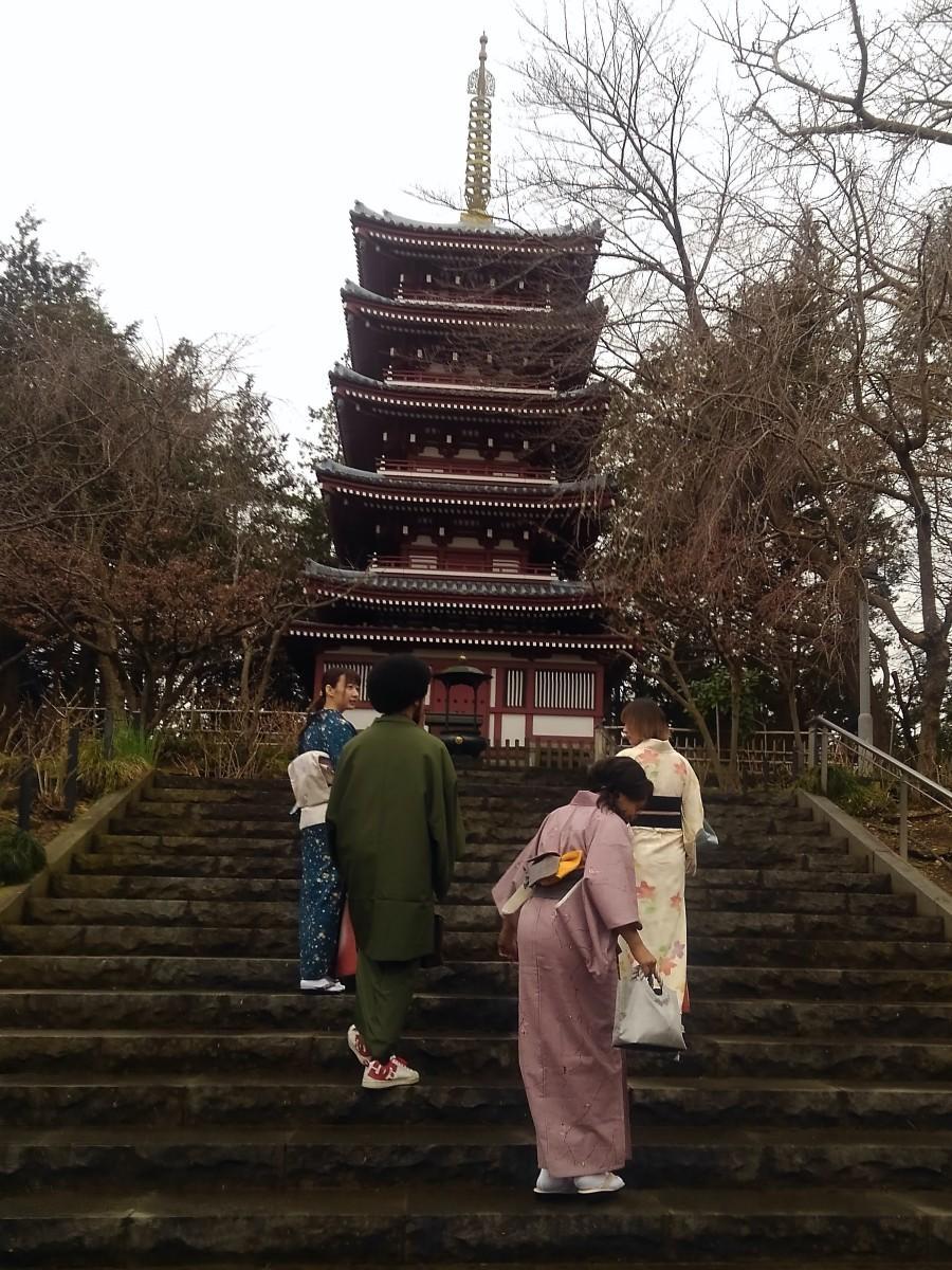 インフルエンサーらは和服姿で本土寺を散策した