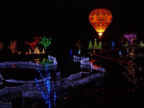約20万個の電球が冬の安曇野を彩る。
