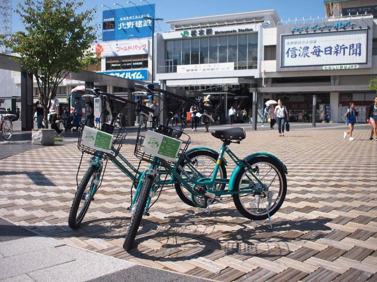 公共レンタサイクル「すいすいタウン」。当面は継続を予定する。©松本市