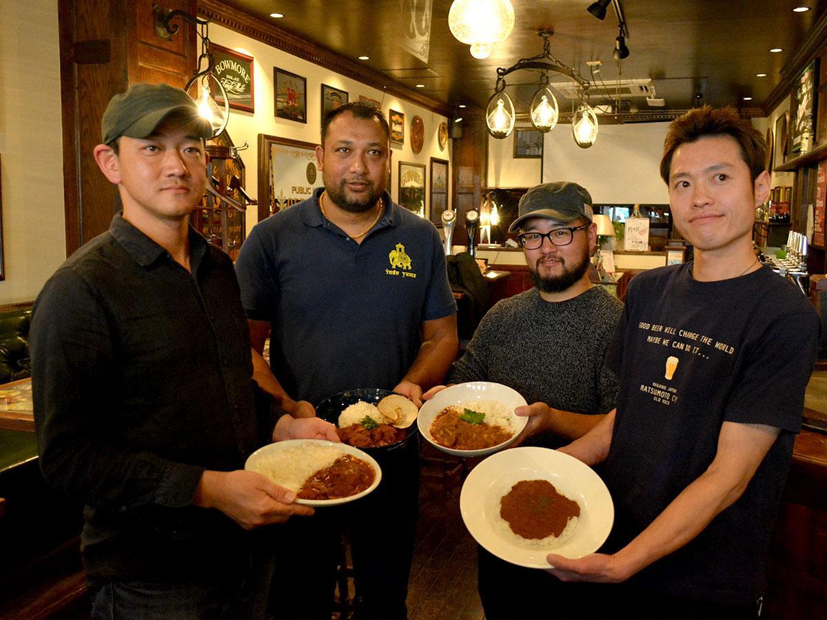 (左から)「メーヤウ」、「DOON食堂印度山」、「がねいしゃ」、「OLD ROCK」のカレー